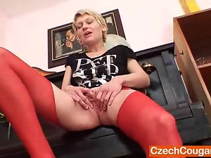 Amateur, Blondes, Czech, Dildo, Fingering, Kinky, Legs, Masturbating, Mature, Milf, Mom, Old, Pussy, Shaved, Slim, Spreading, Stockings