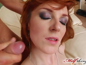 Cowgirl, Cumshots, Facials, Group sex, Mature, Milf, Mmf, Mom, Redheads, Riding, Threesome