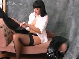 Babes, Big tits, Boots, Busty, Fetish, Leather, Lingerie, Masturbating, Nylon, Stockings