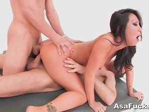 Anal, Asian, Ass to mouth, Big butt, Brunettes, Cum, Deepthroat, Double anal, Double penetration, Group sex, Mmf, Sucking, Threesome
