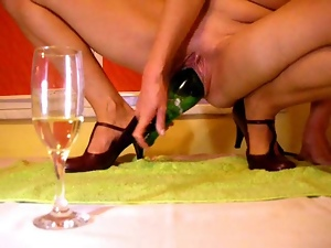 Bottle, High heels, Masturbating