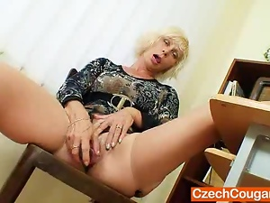 Amateur, Blondes, Czech, Dildo, Kinky, Legs, Masturbating, Mature, Mom, Old, Pantyhose, Pussy, Schoolgirl uniform, Solo, Spreading, Stockings, Teacher
