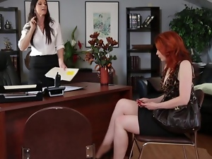Grinding, Lesbian, Office, Stockings