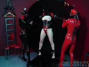 Bondage, Bound, Fetish, Gloves, Group sex, High heels, Latex, Lesbian, Pvc, Rubber, Tease, Tied up