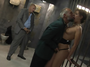 Blowjob, Brunettes, Cumshots, Doggystyle, Facials, Group sex, High heels, Mature, Prison, Threesome, Toilet