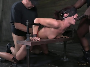 Blindfolded, Blowjob, Bondage, Bound, Brunettes, Deepthroat, Doggystyle, Fetish, Gagged, Gagging, Group sex, Interracial, Threesome, Tied up