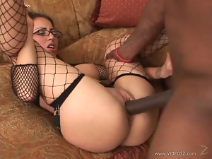 Amateur, Cum, Doggystyle, Fishnet, Glasses, Interracial, Lingerie, Riding, Skirt, Stockings