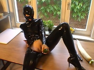Cucumber, Fetish, Gloves, Rubber, Solo
