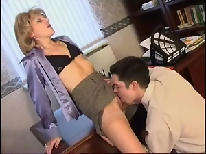 Blondes, Blowjob, Caught, Doggystyle, Masturbating, Mature, Office, Stockings