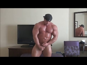 Gay, Hunk, Masturbating, Muscled, Small cock, Solo