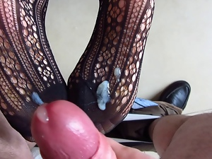 Amateur, Bodystocking, Cumshots, Feet, Foot fetish, Lingerie, Milf