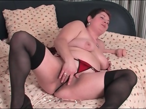 Bbw, Cunt, Lingerie, Masturbating, Stockings