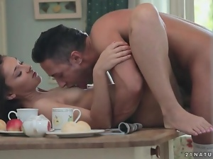 Brunettes, Erotic, Fucking, Kitchen, On top, Small tits