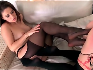 Chick, Foot fetish, Lesbian, Nylon, Small tits, Stockings