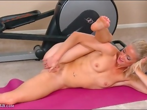 Babes, Blondes, Fitness, Masturbating, Nude, Pussy, Small tits, Sport