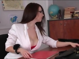 Big tits, Bra, Cleavage, Pantyhose, Strip, Teacher, Tease