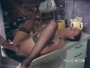 Fishnet, Fisting, Horny, Kitchen, Teens, Wife