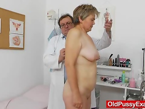 Doctor, Gyno exam, Mature, Stockings, Wife