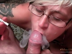 Babes, Blowjob, Dick, Glasses, Mature, Smoking
