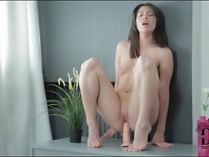 Hairless, Masturbating, Nude, Pussy, Riding, Shaved, Small tits