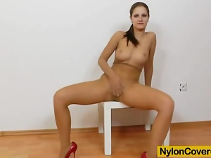 Brunettes, Dildo, Nylon, Pantyhose, Riding