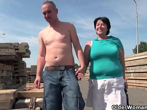 Fucking, Grandma, Mature, Natural boobs, Nipples, Outdoor, Ugly