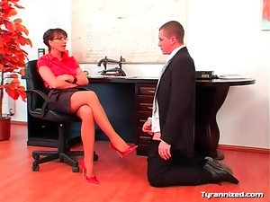 Domination, Milf, Office, Satin, Skirt