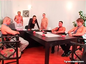 Femdom, Group sex, Humiliation, Nude, Office