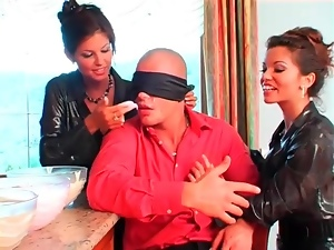 Blindfolded, Food, Lady, Satin, Threesome