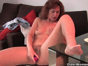 Dildo, Fucking, Granny, Hairy, Mature, Pussy, Swollen pussy
