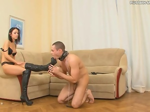 Beautiful, Boots, Dominatrix, Femdom, Foot fetish, Leather, Licking