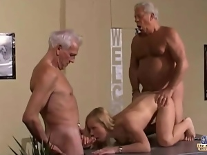 Double penetration, Old, Old farts, Teens, Threesome, Young