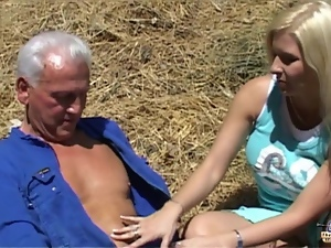 Blondes, Farm, Old, Old farts, Outdoor, Seduce, Young