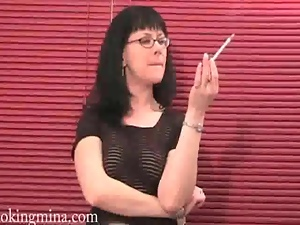 Brunettes, Glasses, Sexy, Smoking, Strip