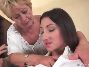 Brunettes, Cunt, Fingering, Granny, Lesbian, Old and young, Young