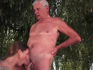 Blowjob, Fucking, Grandpa, Hardcore, Old and young, Outdoor, Slut, Young