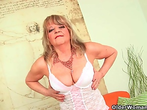 Breast, Dildo, Grandma, Huge, Lingerie, Masturbating, Mature