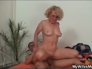 Hardcore, Lady, Old, On top, Riding, Shaved