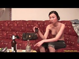 Asian, Drinking, Drunk, Jeans, Small tits, Wine