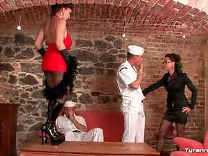 Femdom, Group sex, Lady, Licking, Lingerie, Sailor, Sexy
