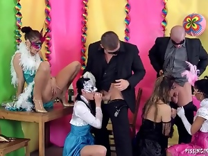 Blowjob, Group sex, Hardcore, Lady, Mask