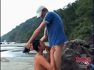Beach, Blowjob, Cocksucking, Cute, Latina