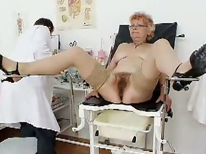 Aged, Bizarre, Czech, Doctor, European, Fetish, Granny, Natural pussy, Sex toys, Speculum, Stockings