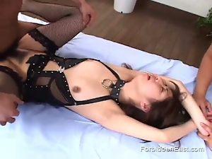 3some, Asian, Bdsm, Brunettes, Fetish, Hardcore, Humiliation, Japanese, Leather, Missionary, Mmf, Natural pussy, Oriental, Slave, Threesome