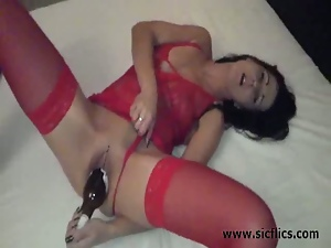 Amateur, Bottle, Brunettes, Dildo, Homemade, Huge dildo, Masturbating, Milf, Posing, Sex toys, Solo, Tease
