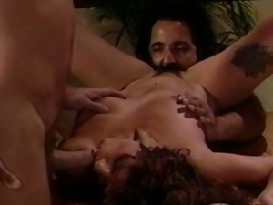 3some, Big tits, Blowjob, Brunettes, Busty, Deepthroat, Hardcore, Mmf, Threesome, Vintage