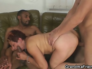 3some, Aged, Blowjob, Deepthroat, Granny, Hardcore, Mmf, Threesome