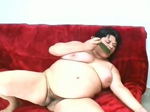 Bbw, Brunettes, Chubby, Chunky, Cucumber, Dildo, Fat, Masturbating, Nude, Obese, Plumper, Sex toys, Solo