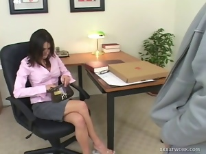 Brunettes, Desk, Fucking, Hardcore, Pizza, Pornstars, Secretary