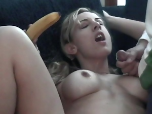 Amateur, Banana, Blondes, Boyfriend, Couple, Cum in mouth, Cumshots, Cunt, Food, Natural boobs, Pigtail, Sex toys